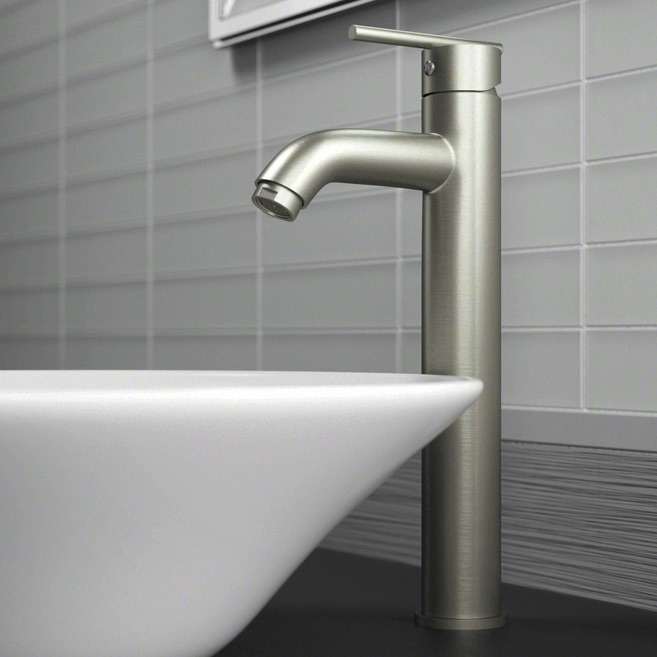 Wave Faucets - Bathroom Faucets - 718-BN Vessel Faucet - Brushed Nickel