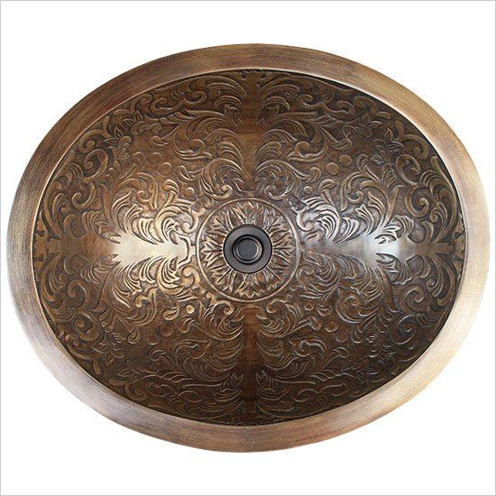 Linkasink Bathroom Sinks - Bronze - B018-AB Brocade Oval Bowl - Antique Bronze
