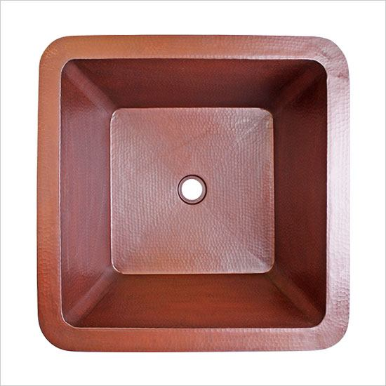 Linkasink Bathroom Sinks - Copper - C005 WC Small Square Copper Bath Sink - 16 x 16 x 8 - Weathered Copper