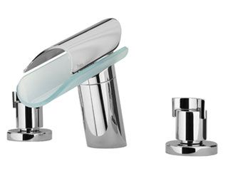 "LaToscana by Paini Bathroom Faucets - Morgana 73CR214VR 8"" Widespread Lavatory Faucet - Chrome & Glass"