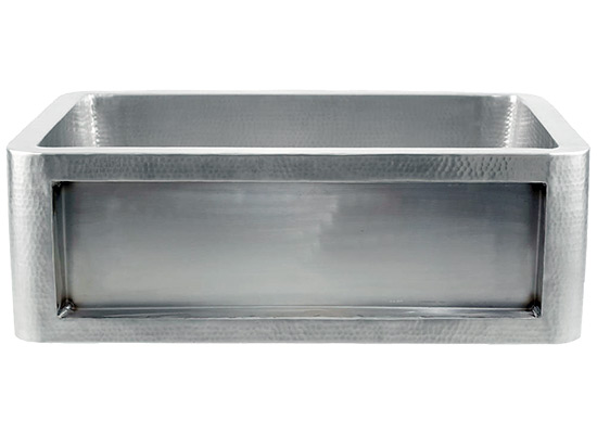 Linkasink Farmhouse Sinks - Linkasink C070-30-SS Stainless Steel Inset Apron Front Sink - Hand Hammered - No Inset Panel