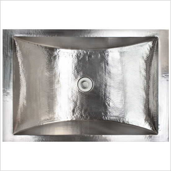 Linkasink Bathroom Sinks - Stainless Steel - C052-PS Rectangular Crescent Sink - Polished Stainless Steel