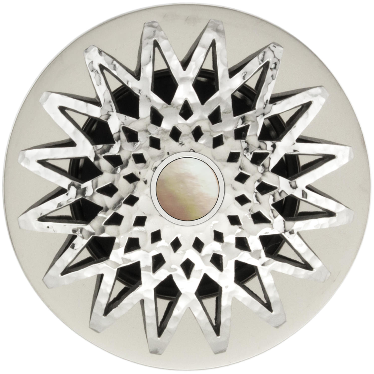 "Linkasink Drains - Decorative Grid Strainer 1.5"" - Star D015PH-SCR02-N - Hammered - Mother of Pearl Screw"