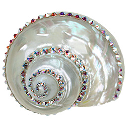 Linkasink Drain - Bathroom D601 White Shell with Aurora Borealis Swarovski Crystals Drain