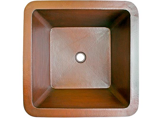 Linkasink Bathroom Sinks - Copper - C007 WC Large Square Copper Sink - 20 x 20 x 10 - Weathered Copper