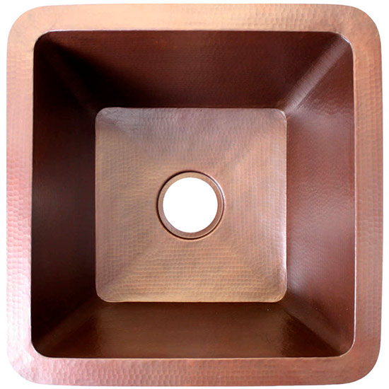 "Linkasink Kitchen Sinks - Linkasink C008 Large Square Copper Prep Sink - 3.5"" drain"