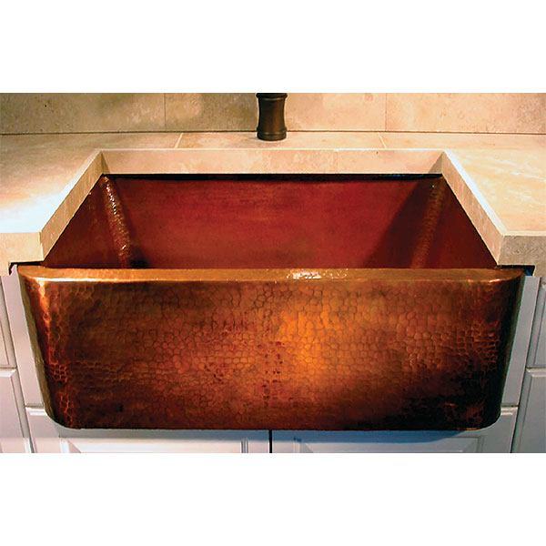 Linkasink Farmhouse Sinks - Linkasink C020-33 Apron Front Kitchen Copper Sink