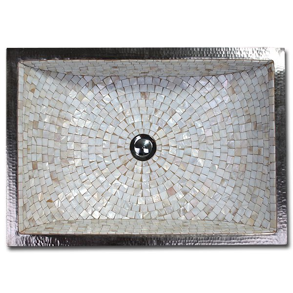 Linkasink Bathroom Sinks - Mosaic - V016 Rectangular Crescent Copper & Mosaic Tile Sink 21 x 14 x 12