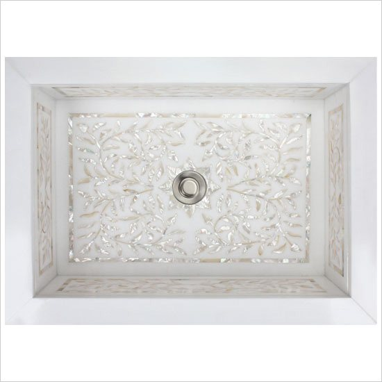 Linkasink Bathroom Sinks - White Marble Mother of Pearl Inlay - MI02 Floral Undermount Bath Sink