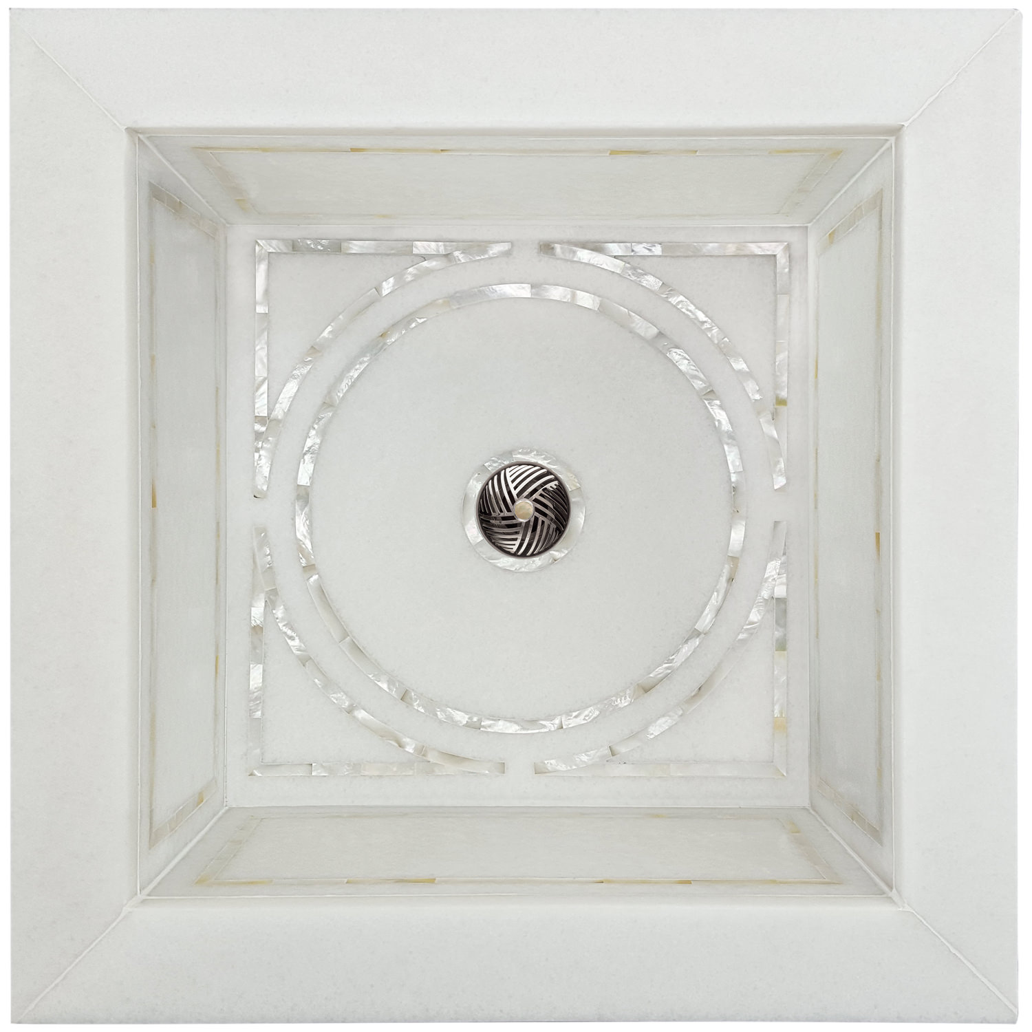 Linkasink Bathroom Sinks - Square White Marble Mother of Pearl Inlay - MI07 Graphic Drop-In Bath Sink
