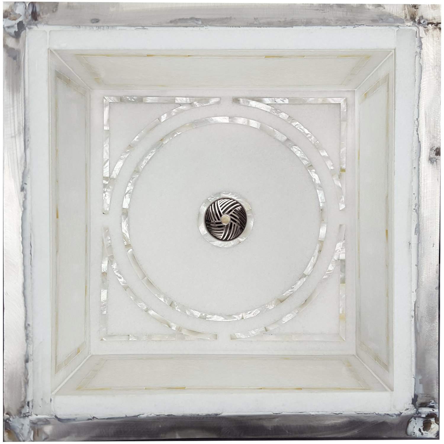 Linkasink Bathroom Sinks - Square White Marble Mother of Pearl Inlay - MI08 Graphic Undermount Bath Sink