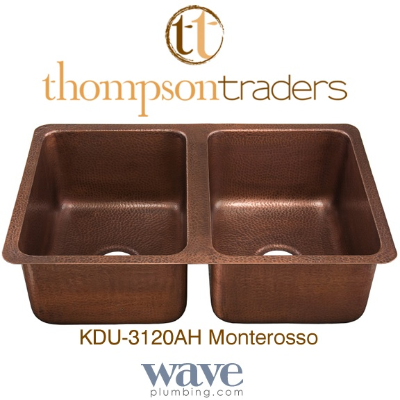Thompson Traders - Copper Kitchen Sinks - Renovations - Monterosso KDU-3120AH Double Bowl Hammered Copper Sink