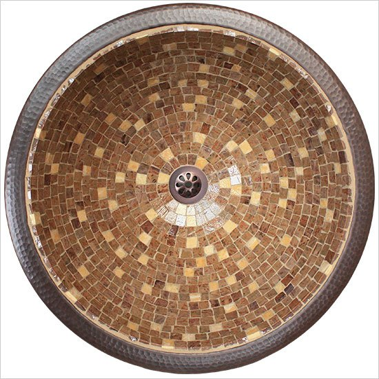 "Linkasink Bathroom Sinks - Mosaic - V007 Large Round Drop in or Undermount 16"" x 8"" OD - 1.5"" drain"