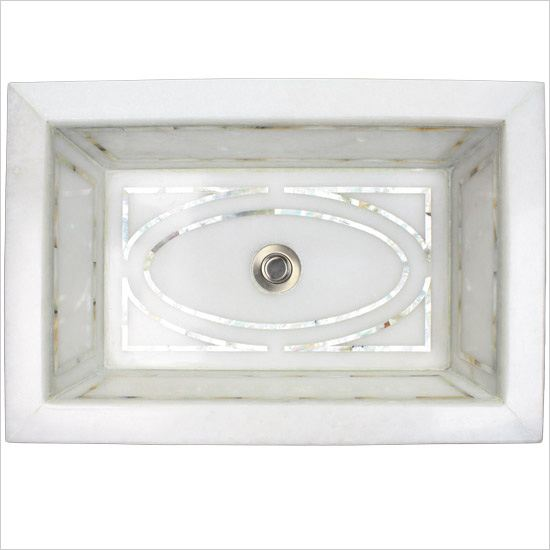 Linkasink Bathroom Sinks - White Marble Mother of Pearl Inlay - MI03 Graphic Drop-In Bath Sink