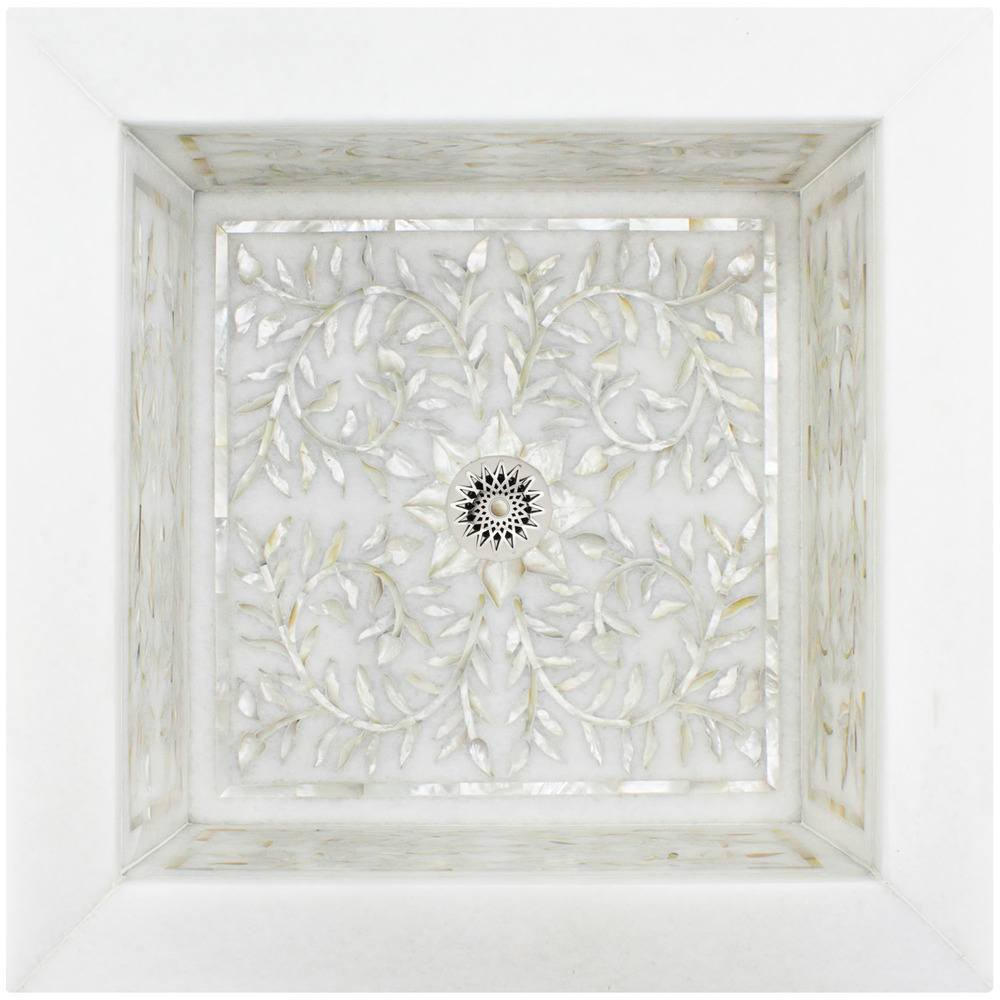 Linkasink Bathroom Sinks - Square White Marble Mother of Pearl Inlay - MI05 Floral Drop-In Bath Sink