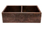 "Premier Copper Products - Farmhouse Kitchen Sink KA50DB33229S - 33"" Kitchen Apron 50/50 Double Basin Sink w/ Scroll Design"