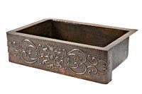 "Premier Copper Products - Farmhouse Kitchen Sink KASDB33229S - 33"" Kitchen Apron Single Basin Sink w/ Scroll Design"