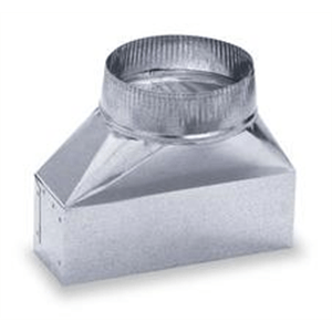 "Lambro Industries - Ducts - Galvanized Transition from 6"" Round to 3.25"" x 10"" Duct - Model 137"