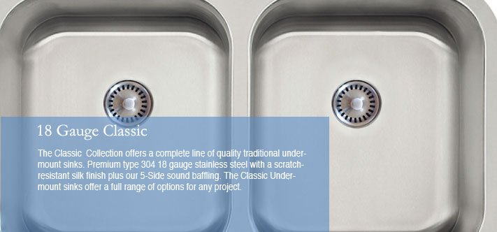 Lenova Kitchen Sinks - 18 Gauge Classic
