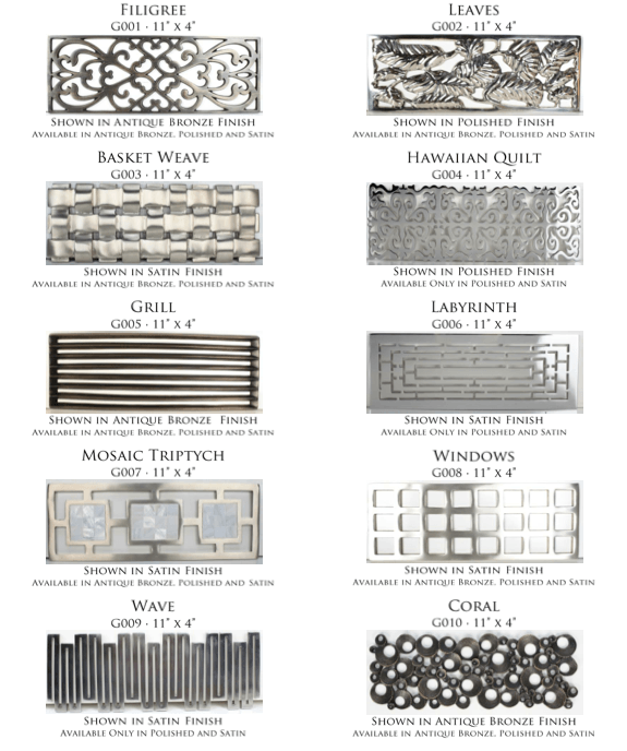 Linkasink Decorative Grates for the Tiffany Jeweler Sink