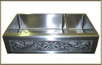 "Elite Bath - Stainless Steel Chameleon SS40DBN 40"" Double Bullnose Farmhouse Sink 40 x 22.5"" - Includes Art Panel"