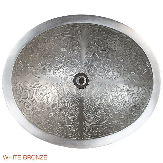Linkasink Bathroom Sinks - Bronze - B018-WB Brocade Oval Bowl - White Bronze