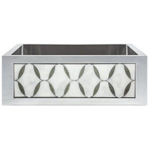 "Linkasink Farmhouse Sinks - Linkasink C071-30-SS Smooth Stainless Steel Sink Inset Apron Front - 3.5"" Drain"