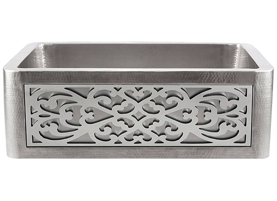 Linkasink Farmhouse Sinks - Linkasink C070-30-SS Stainless Steel Inset Apron Front Sink - Hand Hammered - PNL105 - Filigree