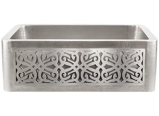 Linkasink Farmhouse Sinks - Linkasink C070-30-SS Stainless Steel Inset Apron Front Sink - Hand Hammered - PNL106 - Tribal