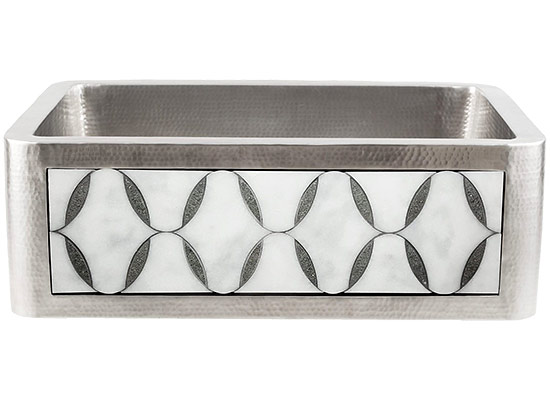 Linkasink Farmhouse Sinks - Linkasink C070-30-SS Stainless Steel Inset Apron Front Sink - Hand Hammered - PNL302 - Marble Ovals
