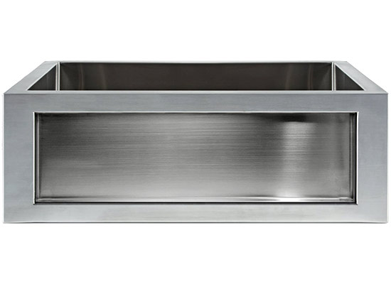 Linkasink Farmhouse Sinks - Linkasink C071-30-SS Stainless Steel Inset Apron Front Sink - Smooth Finish - No Inset Panel