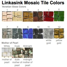 Linkasink Bathroom Sinks - Mosaic - Venetian Glass and Tumbled Marble Tile Sample Chart