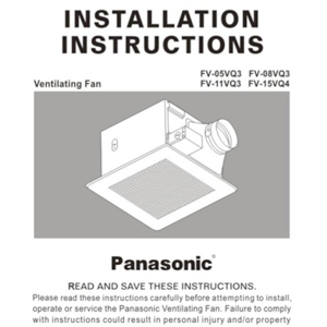 Panasonic Fans - Installation Instructions