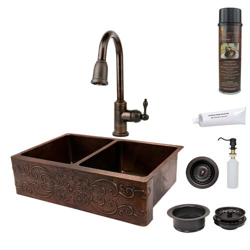"Premier Copper Package - Farmhouse Kitchen Sink KSP2-KA50DB33229S - 33"" Kitchen Apron 50/50 Double Basin Sink w Scroll Design"