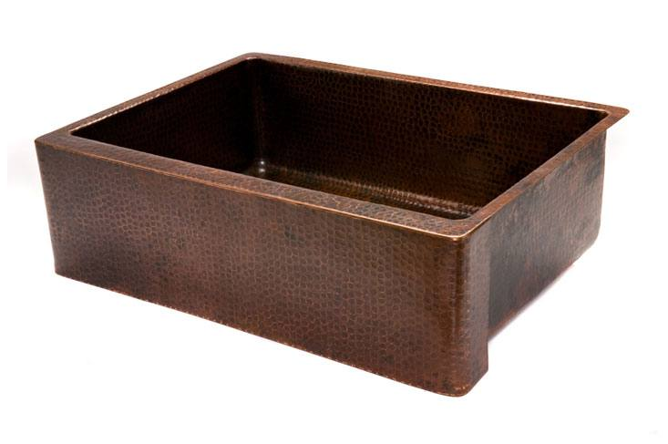 "Premier Copper Products - Farmhouse Kitchen Sink KASDB30229 - 30"" Copper Hammered Kitchen Apron Single Basin Sink"