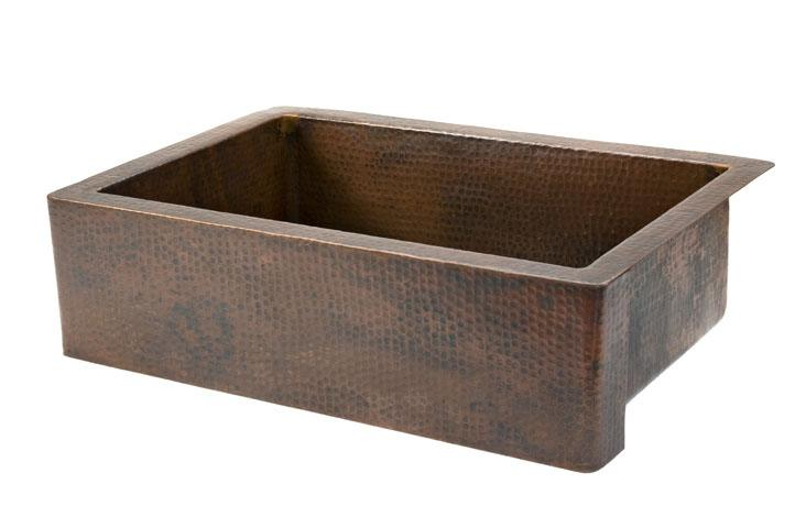 "Premier Copper Products - Farmhouse Kitchen Sink KASDB33229 - 33"" Single Bowl Hammered Copper Sink"