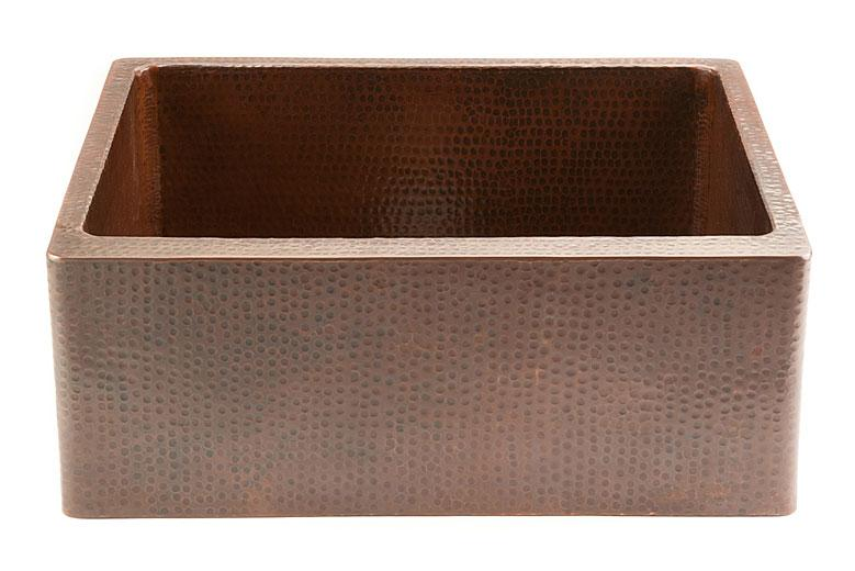 "Premier Copper Products - Farmhouse Kitchen Sink KASDB25229 - 25"" Copper Hammered Kitchen Apron Single Basin Sink"