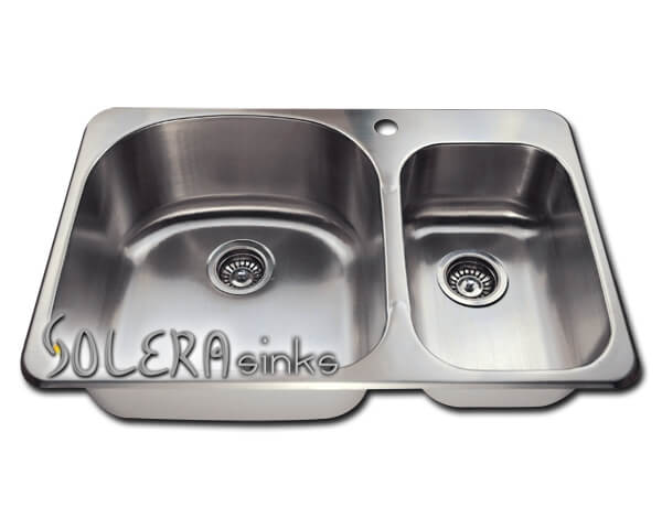 Solera Kitchen Sink - Stainless Steel SL1213T - Double Overmount Offset 18 Gauge