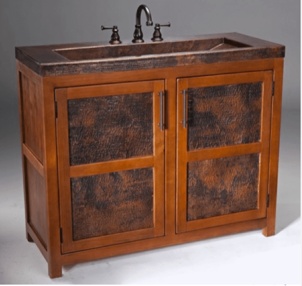 Thompson Traders - VTL Grande Rustic Bathroom Vanity & Copper Sink includes drain