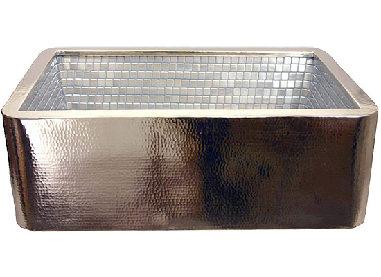 Linkasink Kitchen Farmhouse Sinks - V030 Stainless Steel Mosaic Tile Apron Front Kitchen Nickel Plated Copper Sink